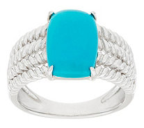 """As Is"" Sleeping Beauty Turquoise Rope Design Sterling Ring - J324981"