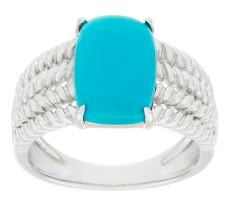 """As Is"" Sleeping Beauty Turquoise Rope Design Sterling Ring"