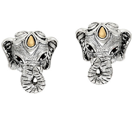 JAI Sterling & 14K Garnet Accent Elephant Head Button Earrings