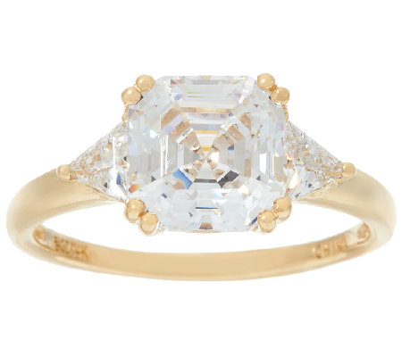 Diamonique Asscher Cut Ring, 14K Gold
