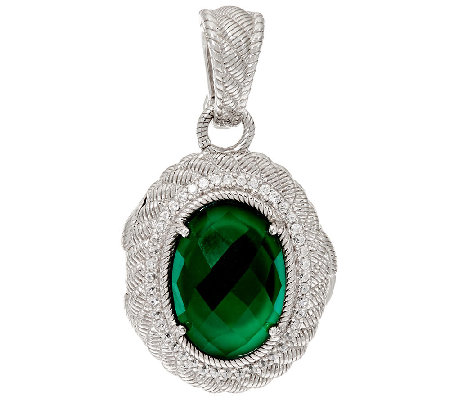 Judith Ripka Sterling Silver Green Goddess Locket Enhancer