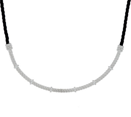 Judith Ripka Sterling Diamonique Necklace on Adjustable Cord