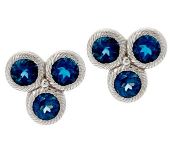 Judith Ripka Sterling Silver Cluster Gemstone Stud Earrings - J329281