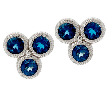 Judith Ripka Sterling Silver Cluster Gemstone Stud Earrings