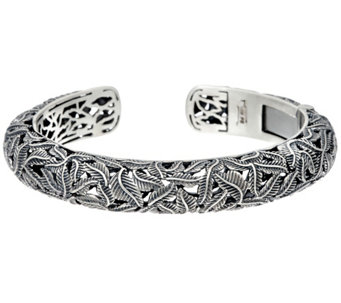 Sterling Silver Vine Design Hinged Cuff by Or Paz 38.00g - J329381