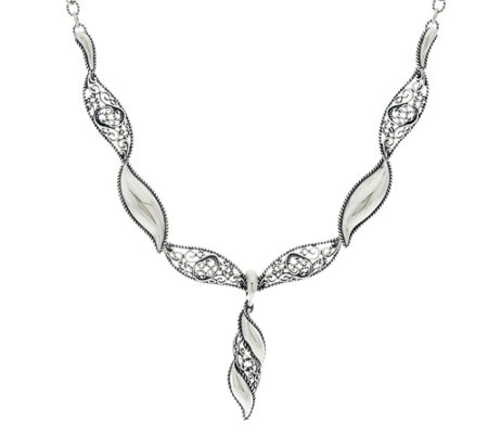 Carolyn Pollack Sterling Silver Signature Wave Necklace & Enhancer