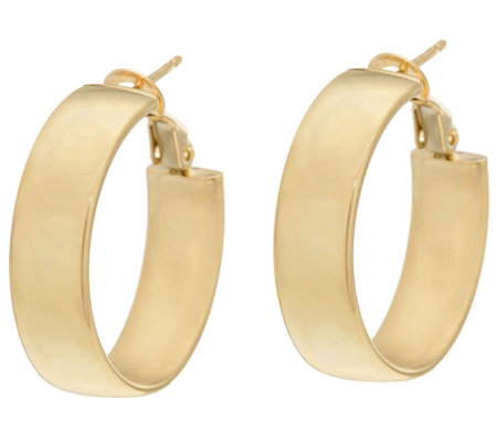 """As Is"" Vicenza Gold Polished Round Omega Back Hoop Earrings 14K"