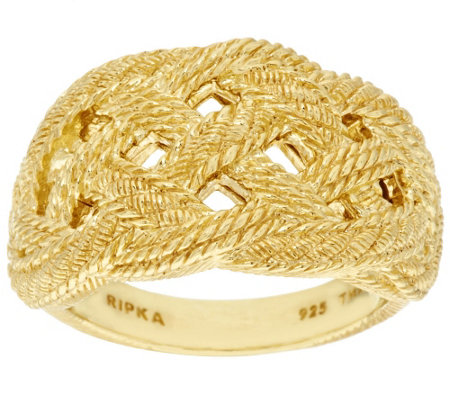 """As Is"" Judith Ripka Sterling & 14K Clad Braided Ring"