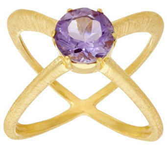 """As Is"" Veronese 18K Clad Gemstone X-Design_Ring - J331081"