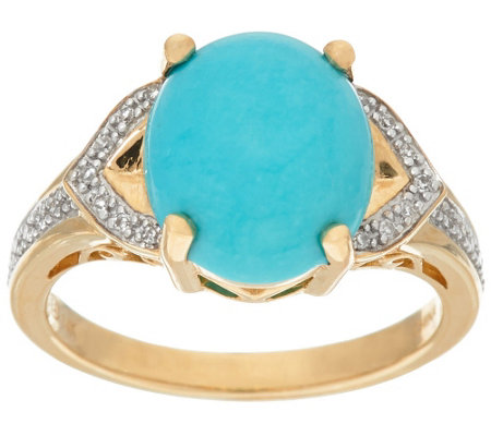 """As Is"" Sleeping Beauty Turquoise and Diamond Ring 14K Gold"