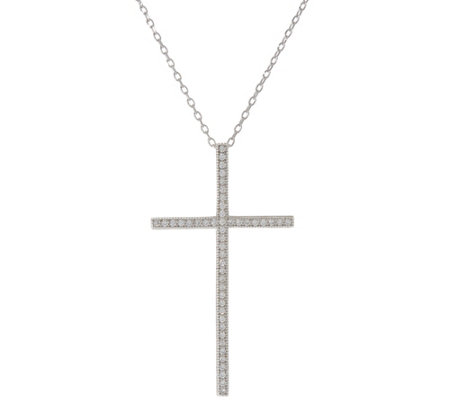 """As Is"" Diamonique Pave Cross Pendant Chain, Sterling or 14k Clad"
