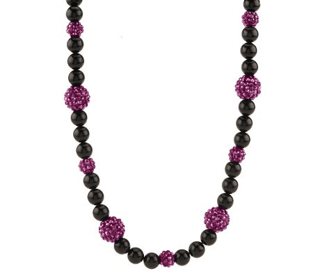 """As Is"" Kenneth Jay Lane's Black & Sparkle Bead Necklace"