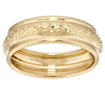 """As Is"" Crystal Cut EternaGold Polished Band Ring 14K Yellow Gold - J332981"