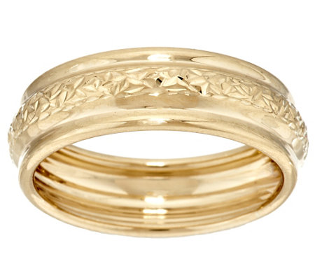 """As Is"" Crystal Cut EternaGold Polished Band Ring 14K Yellow Gold"