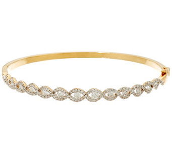 """As Is"" Round Diamond Small Twist Bangle, 14K 1.55 cttw by Affinity - J333581"