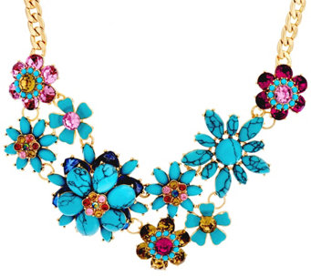 """As Is"" Joan Rivers Simulated Turquoise Floral Necklace - J333981"