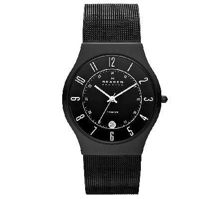 Skagen Men's Titanuim Black Mesh Bracelet Watch