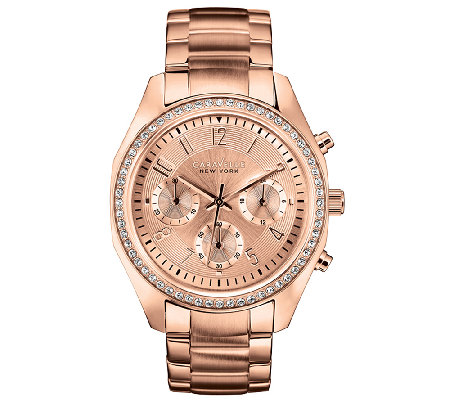 Caravelle New York Women's Rosetone & Crystal Bracelet Watch