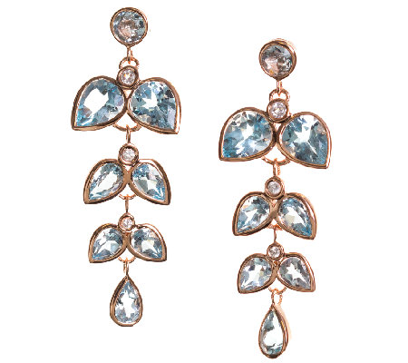 Graziela Gems Blue Topaz & Zircon Earrings, Sterling/18K Rose