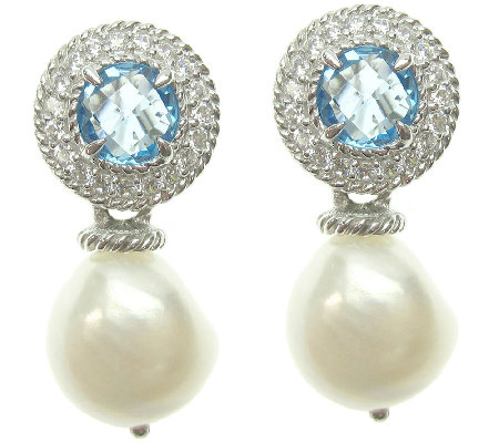 Judith Ripka Sterling Light Blue Topaz & Pearl Drop Earrings