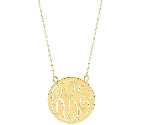 "Sterling & Gold Plated 7/8"" Cutout Monogram Necklace"