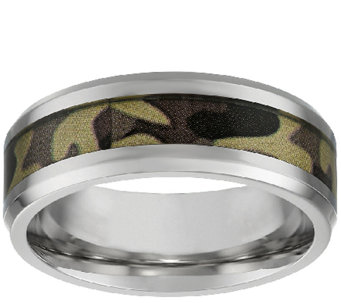 Stainless Steel Men's Band Ring w/ Camouflage Design - J337881