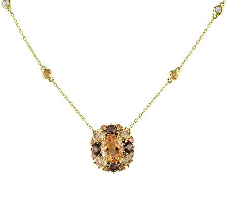 6.75cttw Oval Citrine & Smoky Quartz Pendant Necklace