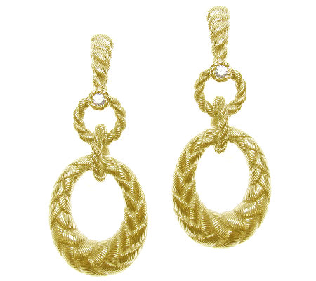 Judith Ripka Sterling 14K Clad Diamonique OvalHoop Earrings