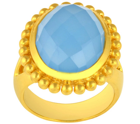 Sterling & 14K Gold-Plated Oval Faceted Gemstone Ring