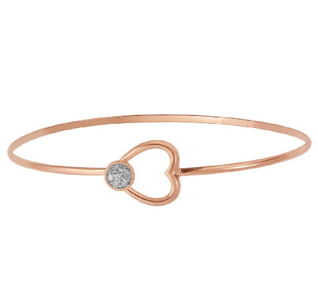 Diamond Accent Heart Bangle, Sterl./Rose Plated, by Affinity
