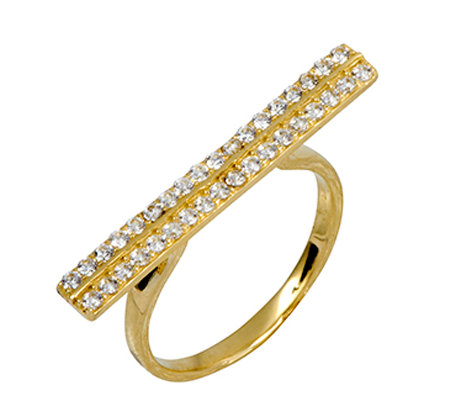 Adi Paz Crystal Double Row Bar Ring, 14K Gold