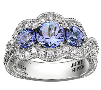 Judith Ripka Sterling 1.60cttw 3-Stone Tanzanit e Ring - J339681