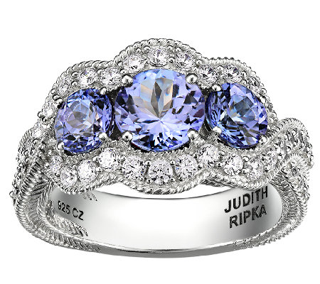 Judith Ripka Sterling 1.60cttw 3-Stone Tanzanite Ring