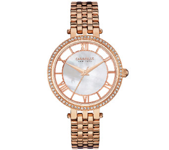 Caravelle New York Women's Rosetone Crystal Bracelet Watch - J339781