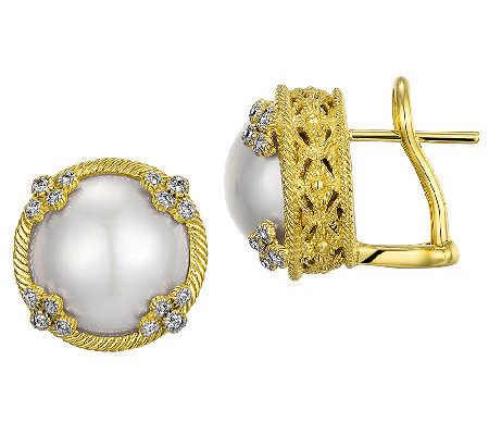 Judith Ripka 14K Clad Cultured Mabe Pearl StudEarrings
