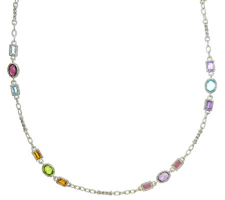 "Judith Ripka Sterling Multi-Gemstone Station 20"" Necklace"
