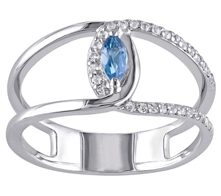 London Blue Topaz & White Topaz Ring, Sterling