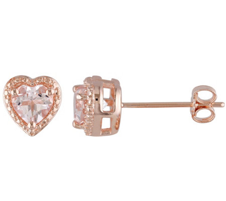 Sterling 1.30 cttw Morganite Heart Stud Earrings