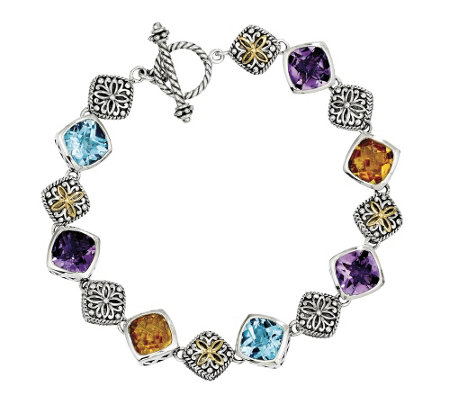 "Sterling and 14K Gold Multi-Gemstone 8-1/2"" Toggle Bracelet"