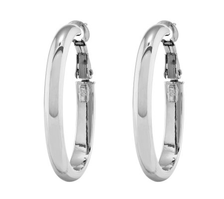 "Polished Oval Hoop 1-1/4"" Earrings, 14K"
