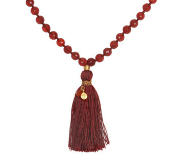 Satya Mala Gemstone Tassel Necklace, Goldtone Brass - J342781