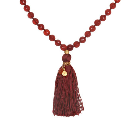 Satya Mala Gemstone Tassel Necklace, Goldtone Brass