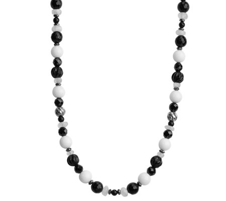 Sterling Black & White Beaded Necklace by American West