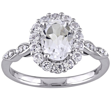 2.10 cttw White Topaz & Diamond Accent Ring, 14K