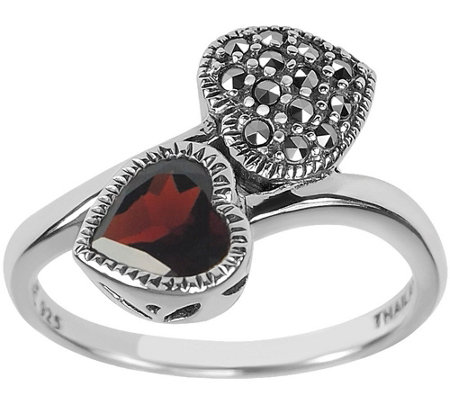 Suspicion Sterling Marcasite & Gemstone Crossover Ring