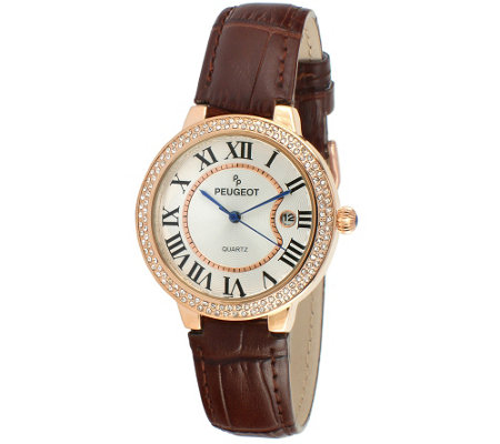Peugeot Women's Rosetone Brown Leather Watch