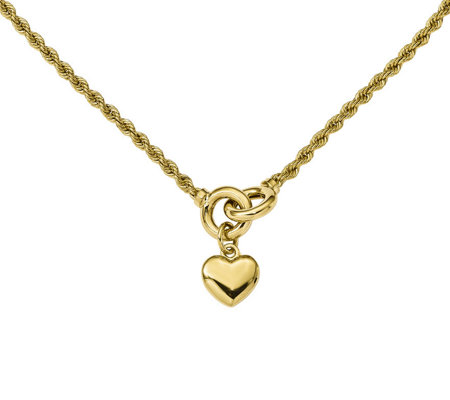 "14K Puffed Heart Dangle 17"" Necklace, 8.9g"