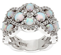 Diamonique and Synthetic Opal Band Ring, Sterling - J345981