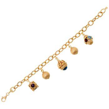 Arte d' Oro 6-3/4 Gemstone Charm Bracelet 18K Gold, 22.0g