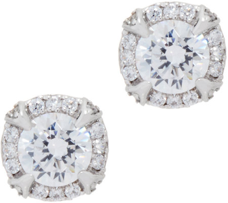 Diamonique Round Halo Stud Earrings, Sterling
